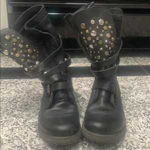 Steve Madden leather studded combat boots sz 6.5